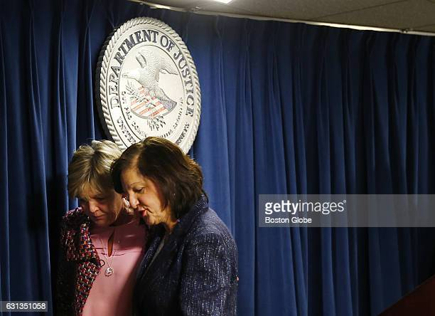 Mary Rizzo left the mother of Jonathan Rizzo who was murdered by Gary Lee Sampson leaves a press conference with US District Attorney Carmen Ortiz...