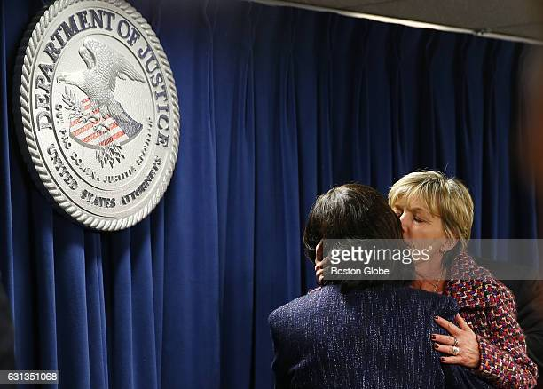 Mary Rizzo right the mother of Jonathan Rizzo who was murdered by Gary Lee Sampson embraces US District Attorney Carmen Ortiz after they addressed...