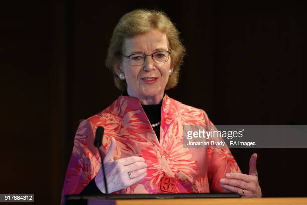 Mary Robinson former United Nations High Commissioner for Human Rights and former Irish president speaks at an event organised by the London Irish...