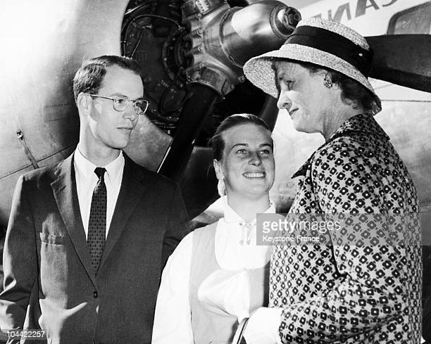 Mary Rockefeller Welcoming Her Son Steven Rockefeller And His Wife AnneMarie Rasmussen When Reaching Kjevik In Norway On August 18 1959