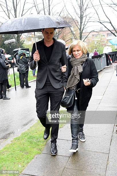 Mary Roos and her son Julian Boehm attend the Roger Cicero Memorial Service on April 15 2016 in Hamburg Germany