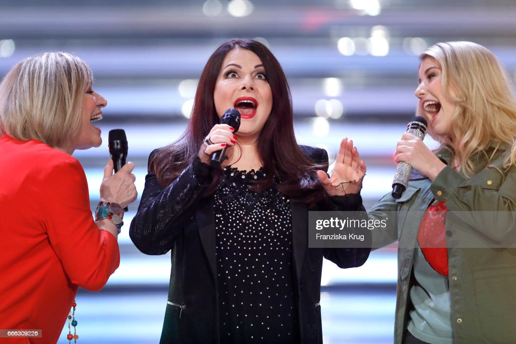 Mary Roos, Marianne Rosenberg and Beatrice Egil during the television show 'Willkommen bei Carmen Nebel' on April 8, 2017 in Magdeburg, Germany.