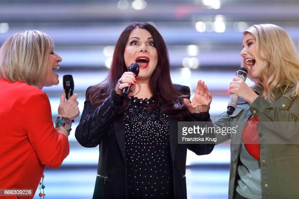 Mary Roos Marianne Rosenberg and Beatrice Egil during the television show 'Willkommen bei Carmen Nebel' on April 8 2017 in Magdeburg Germany