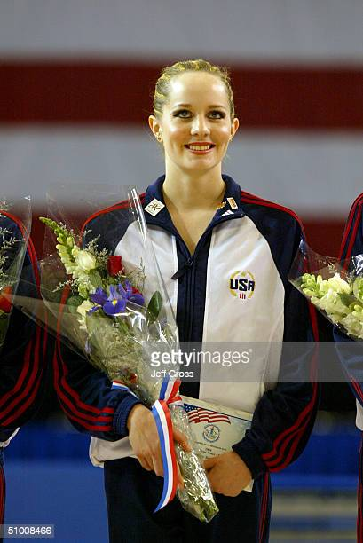 Mary Sanders smiles after winning the senior rythmic gymnastics event during the US Olympic Trials for Rhythmic Gymnastics and Trampoline on June 19...