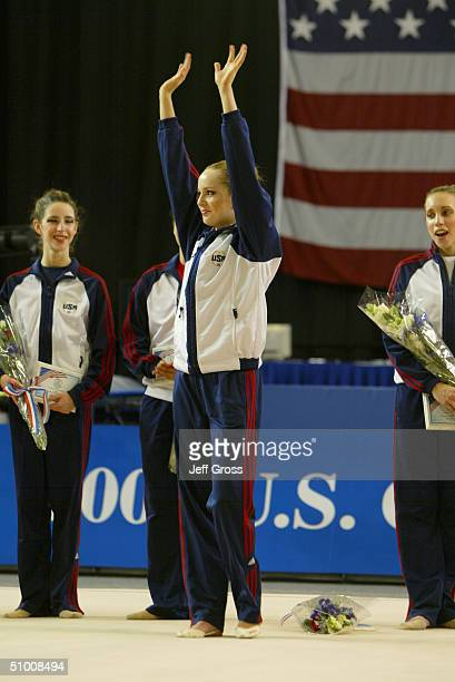 Mary Sanders waves to the crowd after winning the senior rythmic gymnastics event during the US Olympic Trials for Rhythmic Gymnastics and Trampoline...
