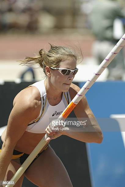 Mary Sauer competes in the women's pole vault finals during the 2002 USA Outdoor Track & Field Championships on June 23, 2002 at Stanford University...