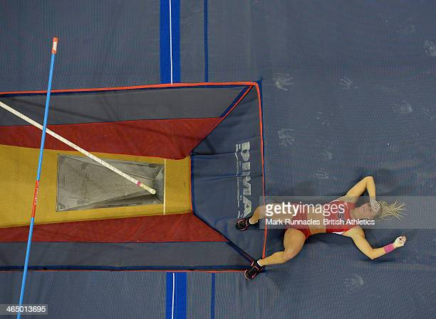 Mary Saxer of the USA competing in the Women's pole Vault during the British Athletics Sainsbury's Glasgow International Match at the Emirates Arena...
