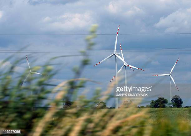 Mary Sibierski View of windmills near Kisielice in northern Poland on June 23 2011 In Poland's historic Gdansk Shipyard the winds of change are...
