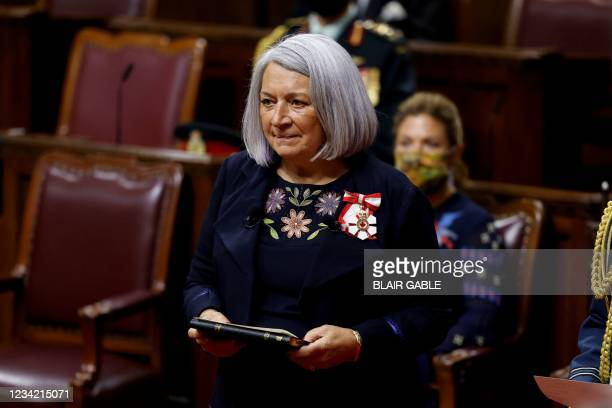 Mary Simon is sworn in as the first indigenous Governor General of Canada during a ceremony in the Senate chamber in Ottawa, Ontario, Canada, July...