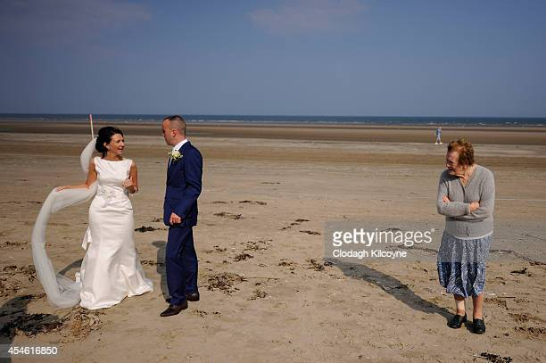 Mary Smith and Fran Smith just after getting married at the Laytown Races run on the beach in Laytown Co Meath on September 4 2014 in Dublin Ireland