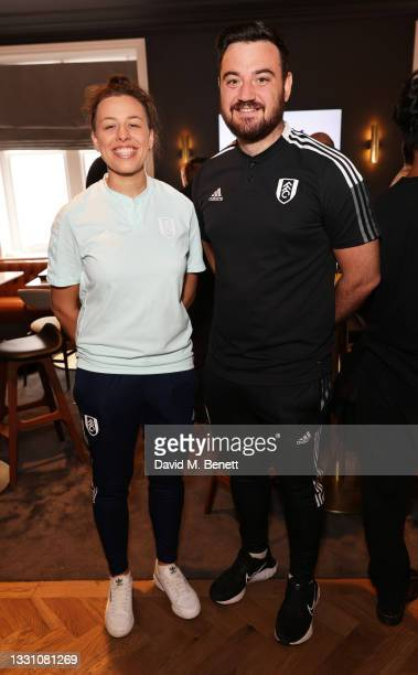 Mary Southgate and Steve Jaye attend a brunch to celebrate the partnership between World Mobile and Fulham FC at Craven Cottage on July 28, 2021 in...