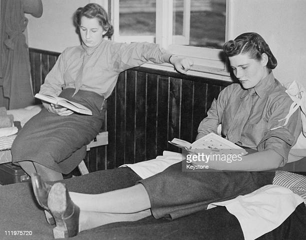 Mary SpencerChurchill youngest daughter of British Prime Minister Winston Churchill relaxes with a book at an ATS reception depot in southern England...