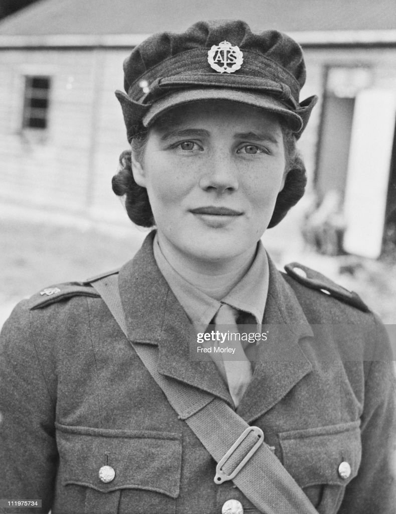 Mary Spencer-Churchill (later Mary Soames), youngest daughter of British Prime Minister Winston Churchill, in her ATS (Auxiliary Territorial Service) private's uniform, 27th September 1941. Spencer-Churchill is in training at a reception depot in southern England.