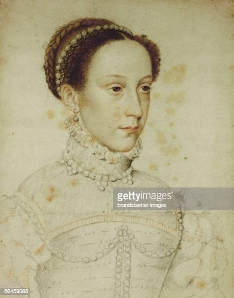 Mary Stuart Queen of the Scots Crayon By Jean Clouet [Mary Stuart Koenigin der Schotten Kreide 1559 Von Jean Clouet]