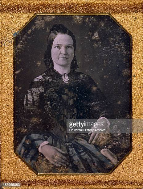 Mary Todd Lincoln wife of Abraham Lincoln Threequarter length portrait seated facing front by Nicolas Shepherd photographer Published 1847