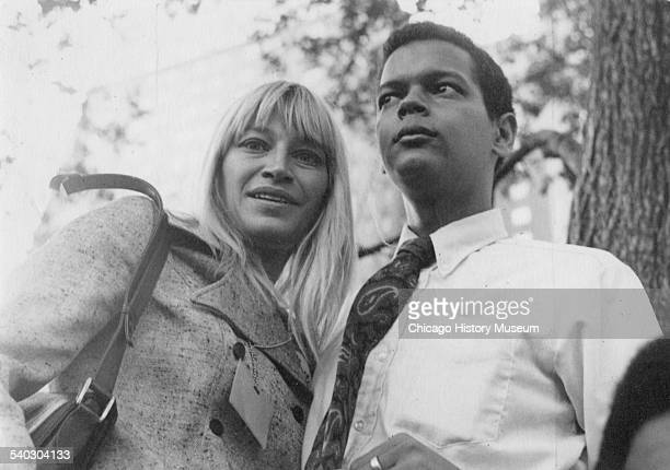 Mary Travers with Julian Bond during the 1968 Democratic National Convention, Chicago, Illinois, August 1968.