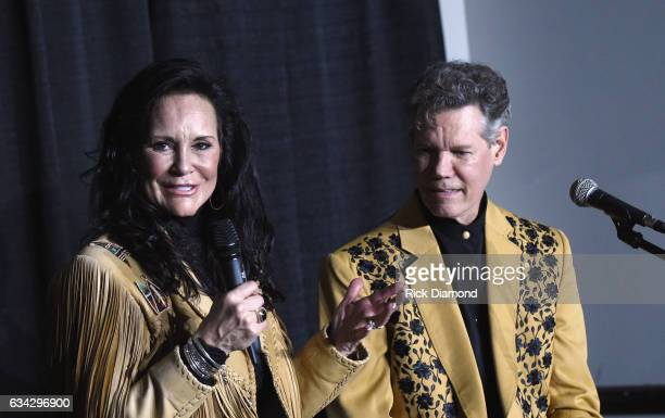 Mary Travis and Randy Travis speak at a press conference during 1 Night 1 Place 1 Time A Heroes Friends Tribute to Randy Travis at Bridgestone Arena...