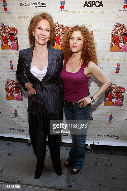 Mary Tyler Moore and Bernadette Peters attend the Broadway Barks 14 Pet Adoption Event at Shubert Alley on July 14 2012 in New York City