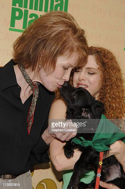 Mary Tyler Moore and Bernadette Peters during Broadway Barks 7 at Shubert Alley in New York City New York United States