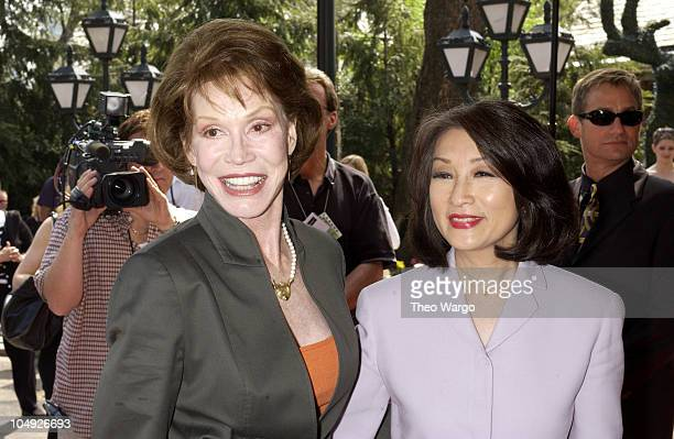 Mary Tyler Moore and Connie Chung during American Women in Radio and Television book launch luncheon for Making Waves The 50 Greatest Women in Radio...