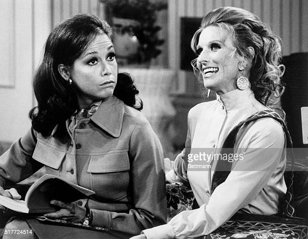 """Mary Tyler Moore plays Mary Richards an October 1971 episode of """"The Mary Tyler Moore Show"""", alongside Cloris Leachman, who plays Richards' friend..."""