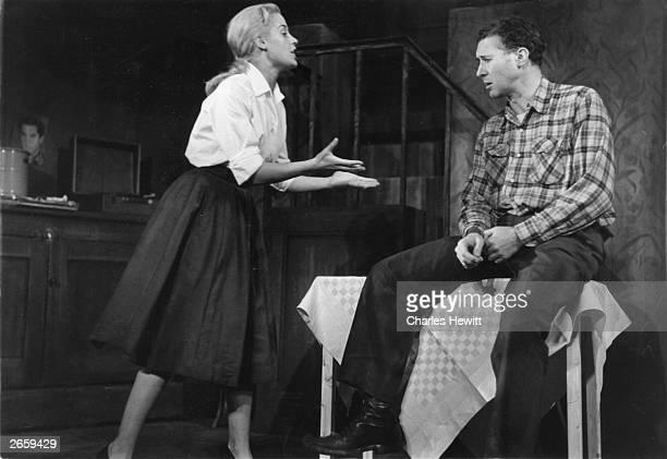 Mary Ure and Anthony Quayle rehearse a scene from Arthur Miller's play 'A View From the Bridge'. Original Publication: Picture Post - 8713 - Highbrow...