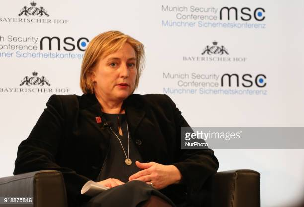 Mary Wareham talking in Munich Germany on February 15 2018 Today the first panel of the Munich Security Conference was held Estonia's president...