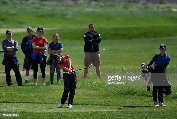 Mary Weinstein Regis Jesuit hits a tee shot off of the 14 tee box during the final round of the Colorado High School State 5A girls golf championship...