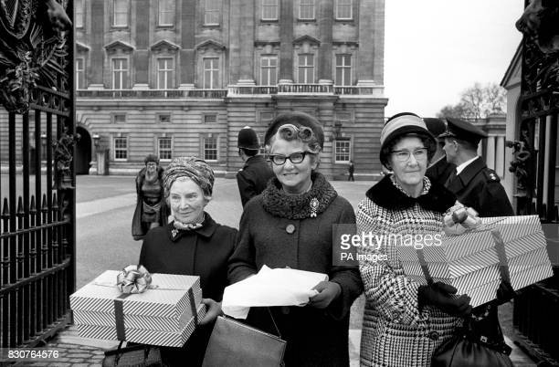 Mary Whitehouse General Secretary of National Viewers and Listeners Association arriving with Polly Bennett and Nancy Crooke to deliver to Buckingham...