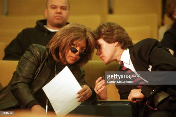 Mary Wilson cofounder of the music group The Supremes speaks with a friend April 25 2001 at a legislative hearing on Beacon Hill in Boston MA Wilson...