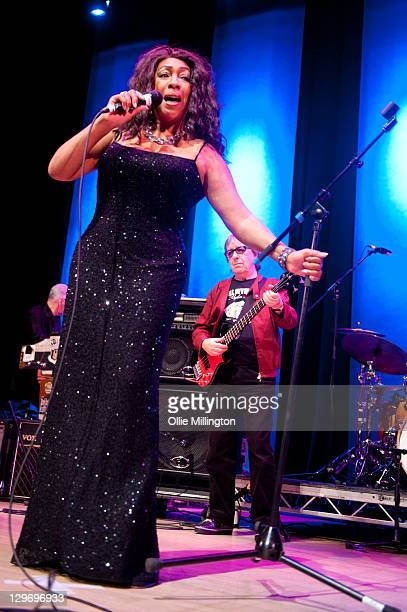 Mary Wilson of The Original Supremes and Bill Wyman of Bill Wyman's Rhythm Kings perform on stage at De Montfort Hall And Gardens on October 19 2011...