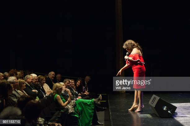 Mary Wilson shares fashion tips with an audience member at GRAMMY Museum Mississippi on March 9 2018 in Cleveland Mississippi