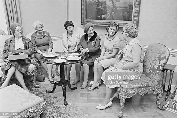 Mary Wilson the wife of Labour politician Harold Wilson during a tea party at Number 10 Downing Street in London 9th October 1969 Among the guests...