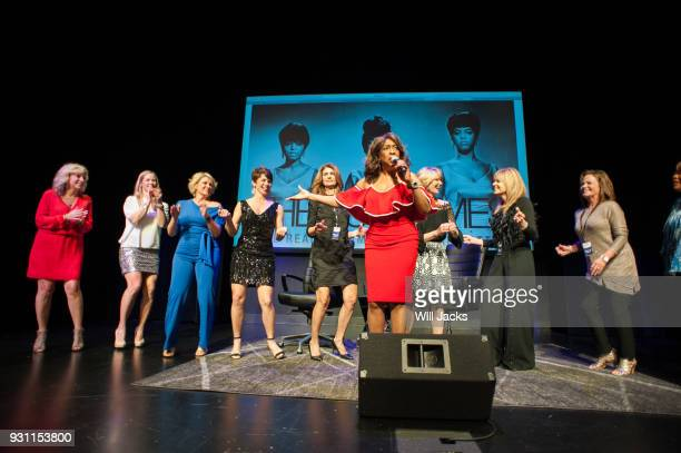 Mary Wilson welcomes audience members to the stage during a performance at GRAMMY Museum Mississippi on March 9 2018 in Cleveland Mississippi