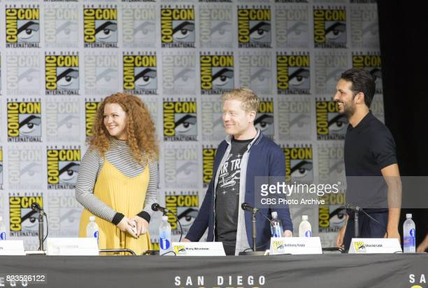Mary Wiseman Anthony Rapp Shazad Latif during the 'Star Trek Discovery' panel at ComicCon 2017 held in San Diego Ca