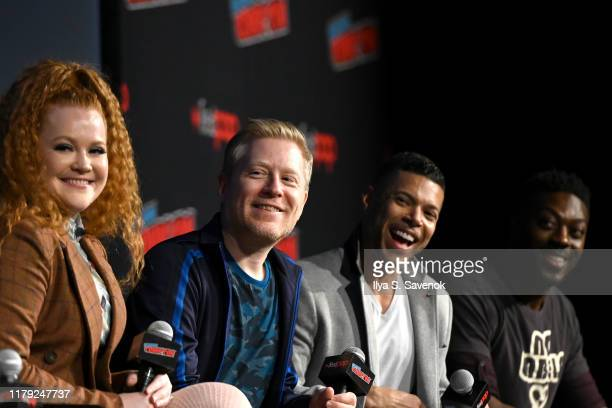 Mary Wiseman, Anthony Rapp, Wilson Cruz, and David Ajala speak onstage during the Star Trek Universe panel New York Comic Con at Hulu Theater at...