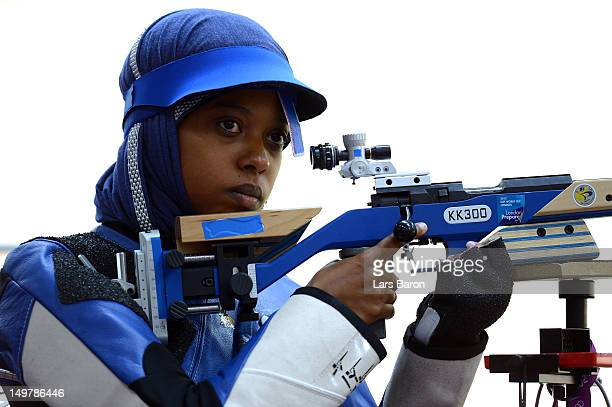 Maryam Arzouqi of Kuwait competes during Women's 50m Rifle 3 Positions Shooting Qualification on Day 8 of the London 2012 Olympic Game at the Royal...