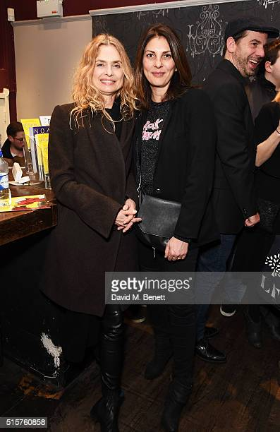 Maryam d'Abo and Gina Bellman attend the press night performance of Not Moses at The Arts Theatre on March 15 2016 in London England