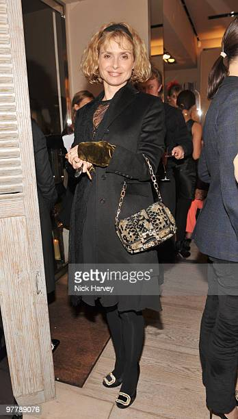 Maryam D'Abo attends the cocktail party for the launch of the 'Miss Viv' handbag collection by Roger Vivier on March 16 2010 in London England