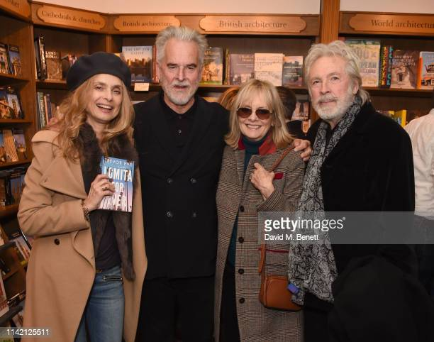 Maryam d'Abo Trevor Eve Twiggy and Leigh Lawson attend the launch of new book Lomita For Ever by Trevor Eve at Hatchards on May 7 2019 in London...