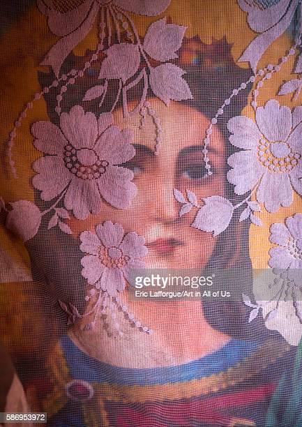 Maryam icon protected by a white transparent scarf amhara region lalibela Ethiopia on February 23 2016 in Lalibela Ethiopia