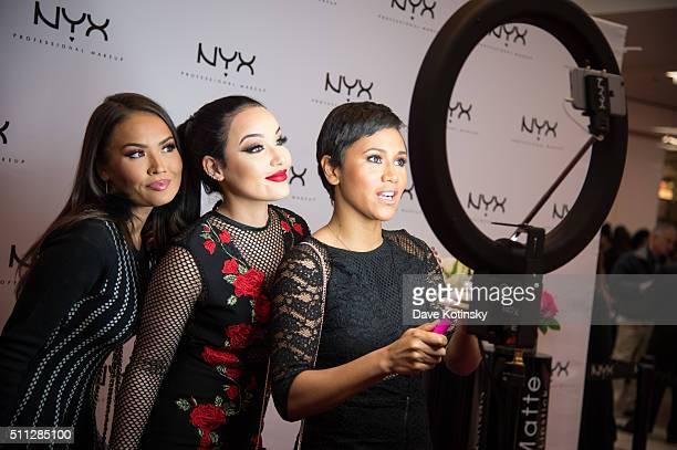 Maryam Maquillage Amanda Ensing and Shameless Maya attend the NYX Professional Makeup Store Willowbrook Grand Opening Ribbon Cutting on February 19...