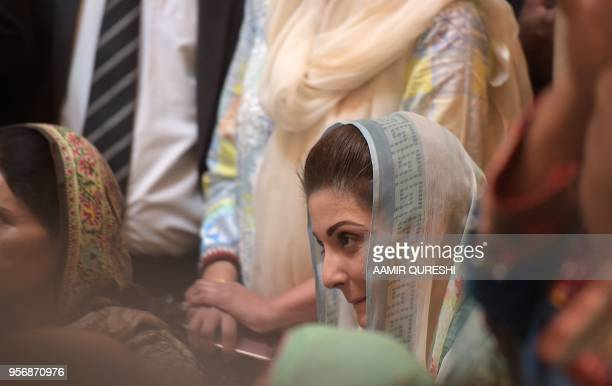 Maryam Nawaz daughter of ousted Pakistani prime minister Nawaz Sharif attends her father's press conference in Islamabad on May 10 2018 Sharif was...