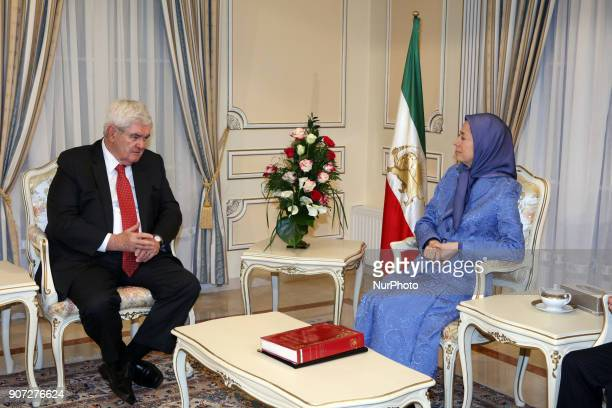 Maryam Rajavi and Newt Gingrich are meeting on January 19 2018 in the office of NCRI Auvers sur Oise north of Paris France They support the uprising...