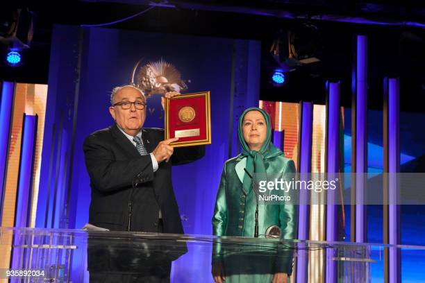 Maryam Rajavi and Rudy Giuliani attend celebration of Nowruz the Iranian New Year on March 20 there was a gathering of Iranians Resistance and...