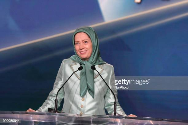Maryam Rajavi attends a conference on the occasion of International Womens Day on February 17 2018 in Paris where speakers encouraged women to stand...