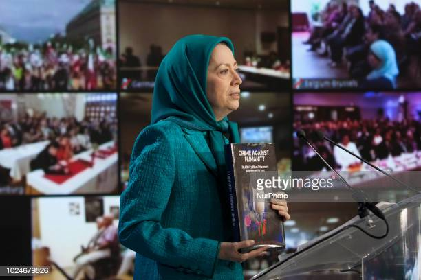 Maryam Rajavi AuverssurOise France Iranians commemorated the 30000 political prisoners massacred in 1988 in Iran in an online conference...