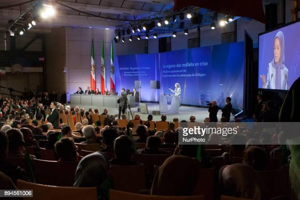 Maryam Rajavi during an international conference in Paris Palais Brongniart on Saturday December 16 2017 Maryam Rajavi the Presidentelect of the...