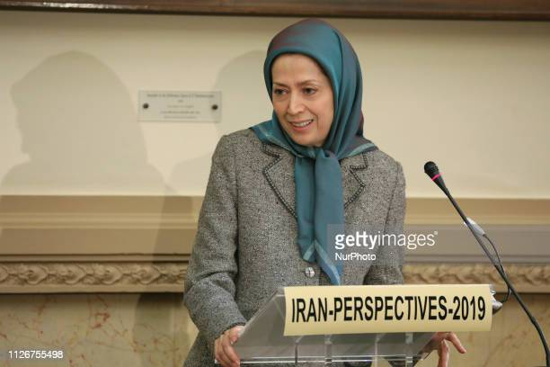 Maryam Rajavi in Paris France on February 21 2019 during the French National Assembly On Thursday February 21 The Parliamentary Committee for a...