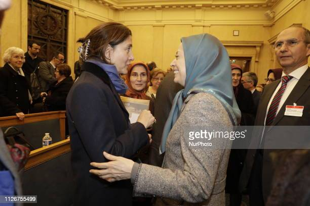 Maryam Rajavi Ingrid Betancourt in Paris France on February 21 2019 during the French National Assembly On Thursday February 21 The Parliamentary...